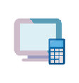 computer calculator on white background vector image
