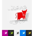 cow paper sticker with hand drawn elements vector image
