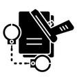 criminal law - handcuffs - docs - gun - evidence vector image vector image