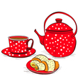 Cup of tea with buns vector image vector image