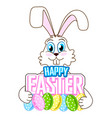 cute easter bunny with colorful eggs vector image vector image
