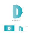 D blue letter alphabet logo icon design
