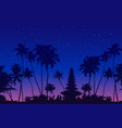 dark palm trees and balinese temple silhouettes vector image vector image