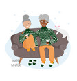 flat elderly couple in love vector image vector image