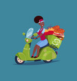 food delivery service icon african american woman vector image