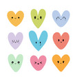 funny happy smiley hearts in kawaii style cute vector image vector image