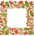 Gingerbread cookies frame vector image vector image