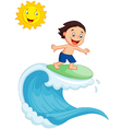 Happy little boy surfing vector image vector image