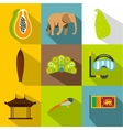 Holiday in Sri Lanka icons set flat style vector image vector image