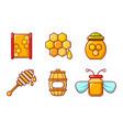 honey icon set cartoon style vector image vector image