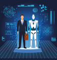 humanoid robot and businessman vector image