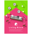 interior banner sale with living room furniture vector image vector image