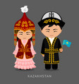 kazakhs in national dress with a flag vector image vector image
