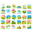 landscapes with paths and roads in country area vector image