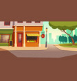 local vegetable and fruit shop in urban landscape vector image vector image