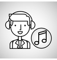 man hand drawing listening music note vector image vector image