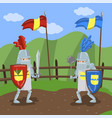 medieval knits tournament two amed knights vector image
