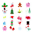 merry christmas and happy new year icons vector image vector image