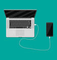 mobile phone charging from laptop usb port vector image vector image