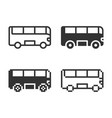monochromatic bus icon in different variants line vector image