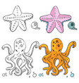 ocean life coloring page design starfish and vector image