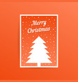 orange merry christmas card with fir tree vector image vector image