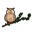 owl bird in branch vector image vector image