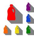 plastic bottle for cleaning set of red orange vector image vector image