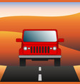 red car on the road suv rides through the desert vector image