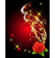 rose and golden ornament vector image