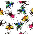 seamless pattern with decorative bugs isolated vector image