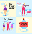 set of colorful banner with brave feminist girls vector image