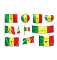set senegal flags banners symbols flat icon vector image vector image
