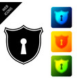 shield with keyhole icon isolated protection and vector image vector image