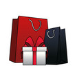 shopping bags and gift box vector image vector image