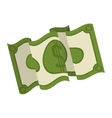 silhouette green bill doubled with symbol dollar vector image vector image