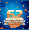 sixty two years anniversary celebration design vector image vector image
