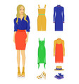 stylish woman with elegant summer clothes set vector image