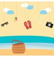 Summertime background with hanging summer icons vector image vector image
