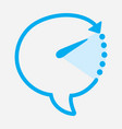 time chat icon blue color with direction arrow on vector image