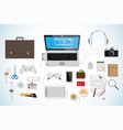 top view business desk workplace concept white vector image vector image