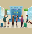 travelers looking at departure board vector image vector image