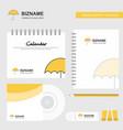 umbrella logo calendar template cd cover diary vector image