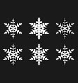 white snowflake icons isolated on a black vector image