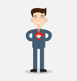 Young man with strong heart attack vector image vector image