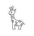 Doodle giraffe animal icon vector image