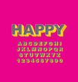 3d bold retro font vintage alphabet 80 s vector image
