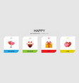 4 happy flat icons set isolated on infographic vector image vector image