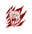 angry wolf inside paw tear scratch marks vector image vector image