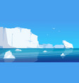 arctic landscape glaciers and icebergs in blue vector image